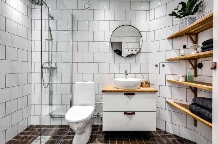 плитка в интерьере ванной в скандинавском стиле