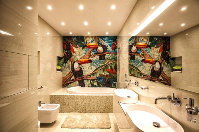 панно из плитки в интерьере ванной