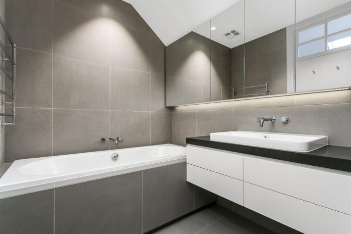 плитка в интерьере ванной в стиле минимализм