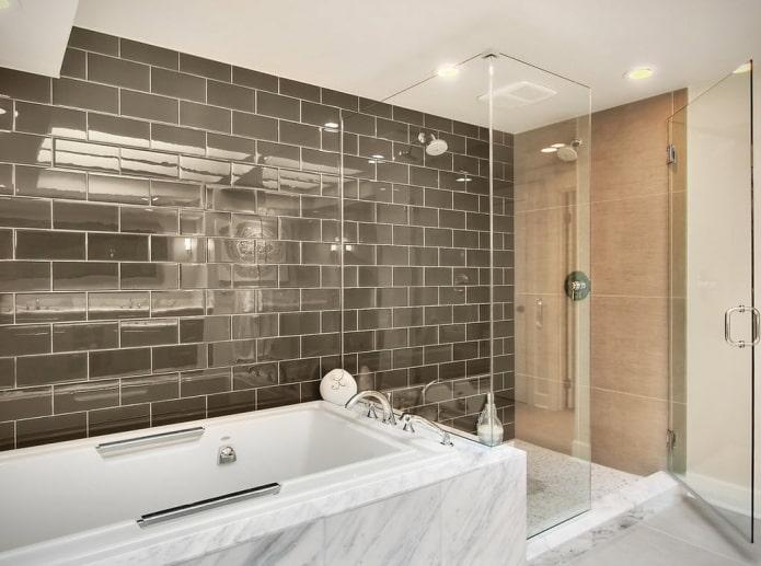 плиточная отделка в интерьере ванной
