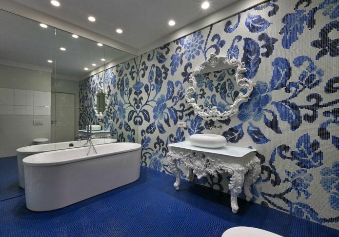 узорчатая плитка в интерьере ванной