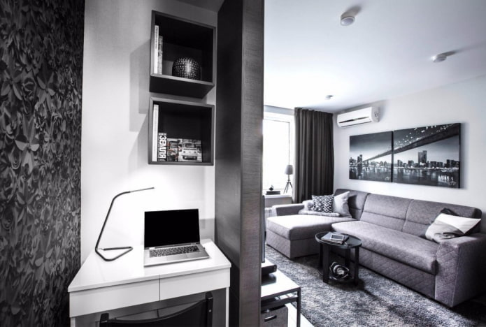 рабочая зона в интерьере квартиры-студии