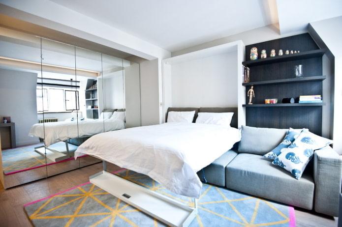 расстановка мебели в интерьере квартиры-студии