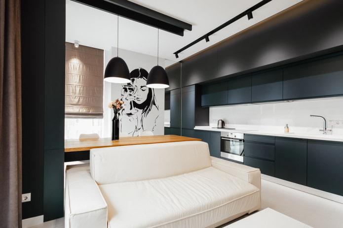 интерьер с кухонной зоной на боковой стене