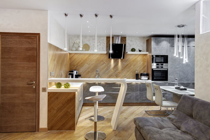 интерьер кухни-студии с барной стойкой