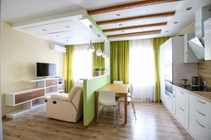 интерьер кухни-студии с перегородкой