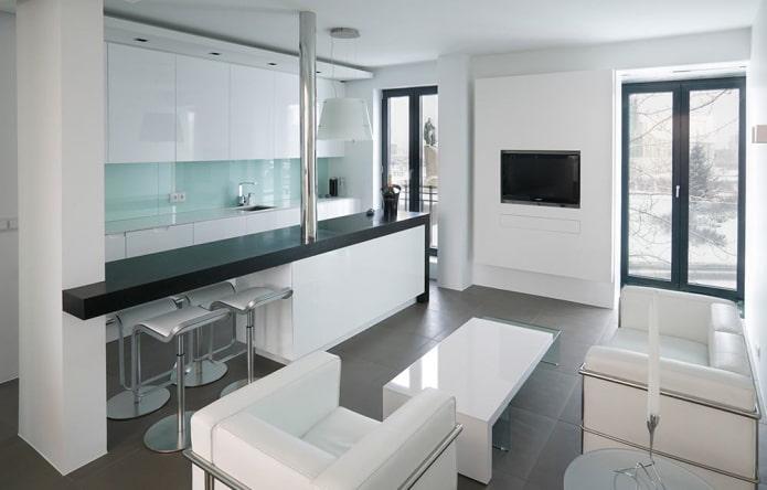 дизайн интерьера кухни-студии в стиле минимализм