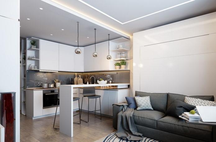 интерьер кухни-студии с двухуровневым потолком