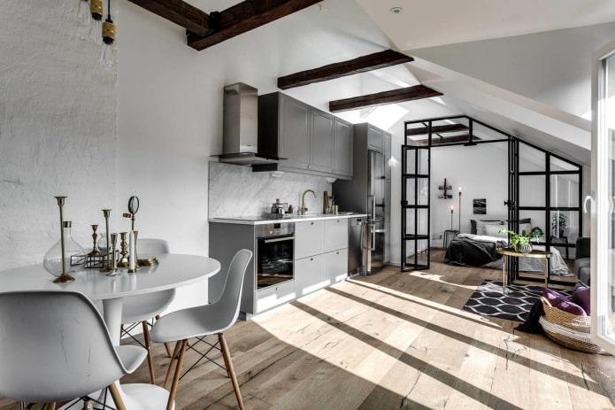 дизайн интерьера кухни-студии в скандинавском стиле