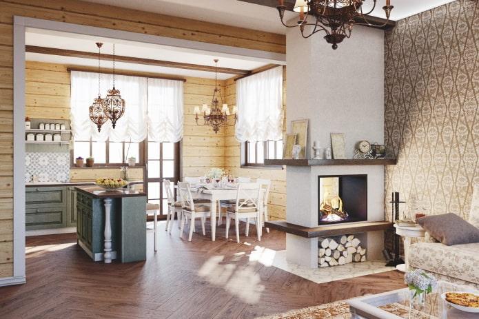 интерьер кухни-студии с камином в виде перегородки