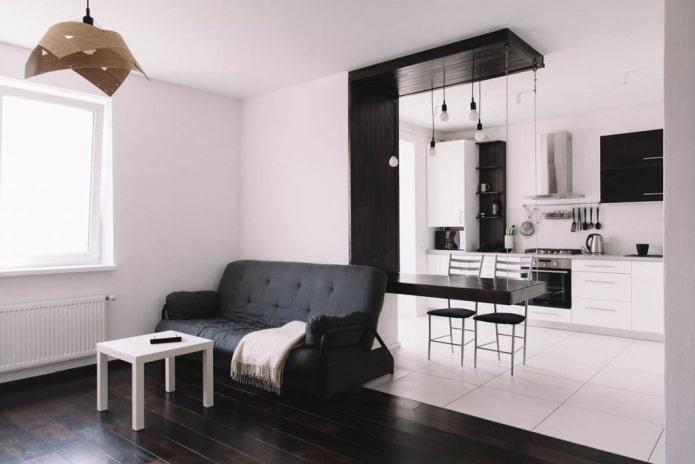 интерьер кухни-студии с декоративной отделкой