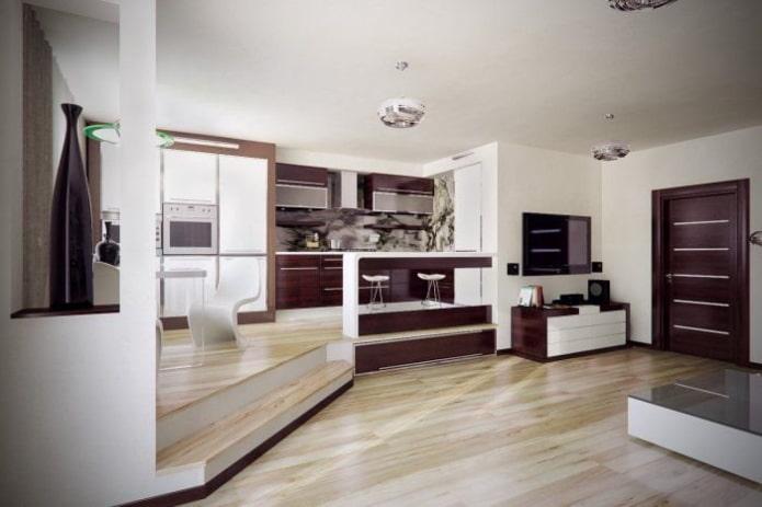 интерьер кухни-студии с подиумным полом
