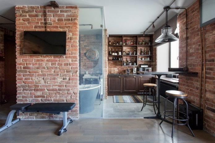 дизайн интерьера кухни-студии в стиле лофт