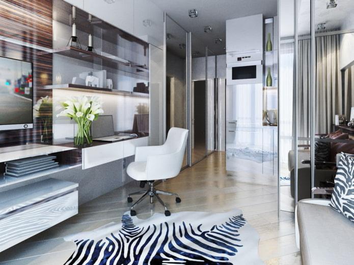 дизайн рабочей зоны в интерьере квартиры-студии