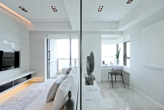 интерьер квартиры-студии в стиле хай-тек