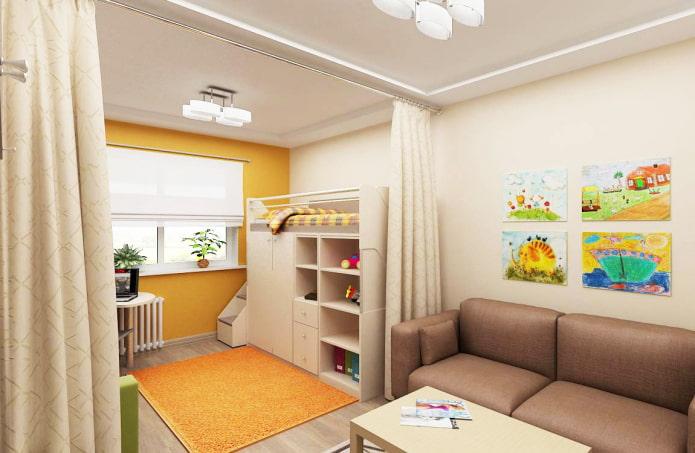интерьер квартиры-студии для семьи с ребенком