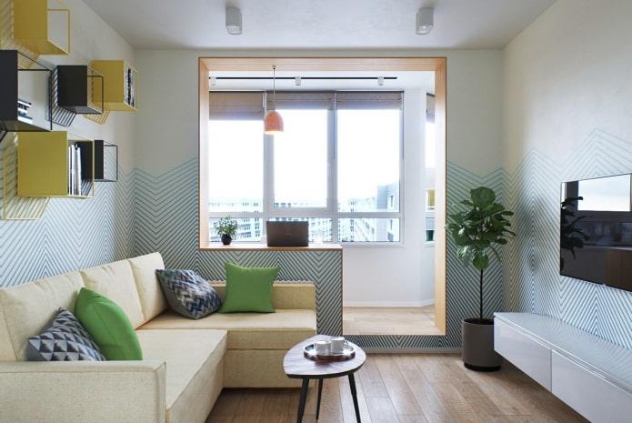 интерьер квартиры-студии с балконом