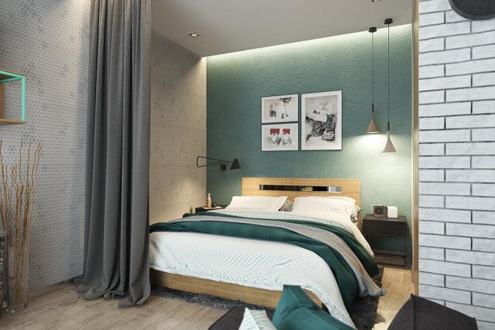спальная зона в интерьере квартиры-студии