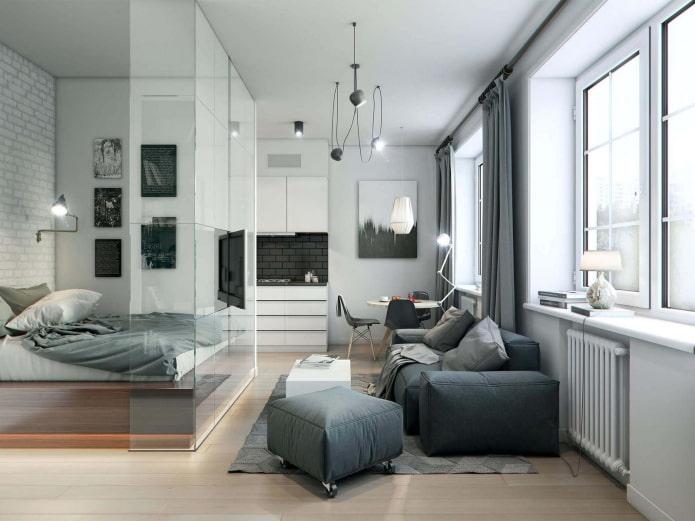 зонирование в интерьере квартиры-студии