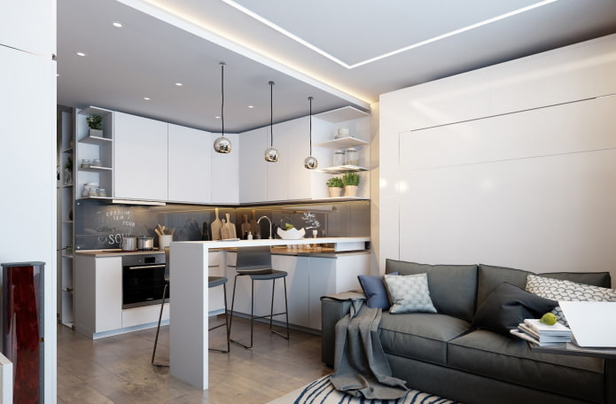 меблировка в интерьере квартиры-студии