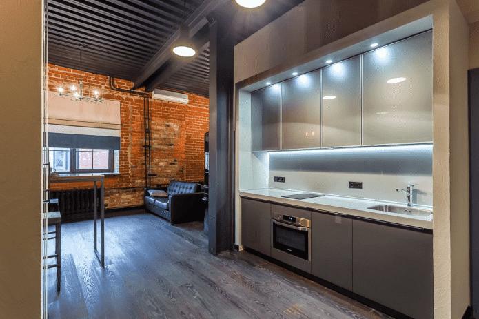 кухонная зона в интерьере квартиры-студии