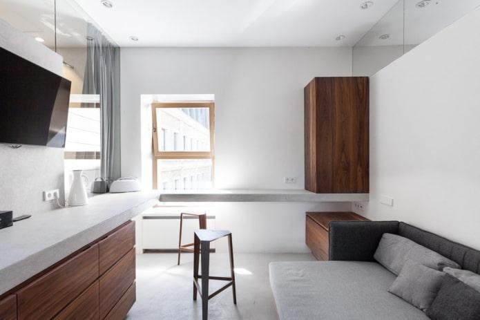 интерьер квартиры-студии в стиле минимализм