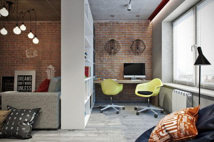 рабочий кабинет в интерьере квартиры-студии