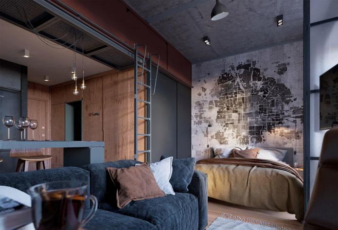 цветовая гамма интерьера квартиры-студии