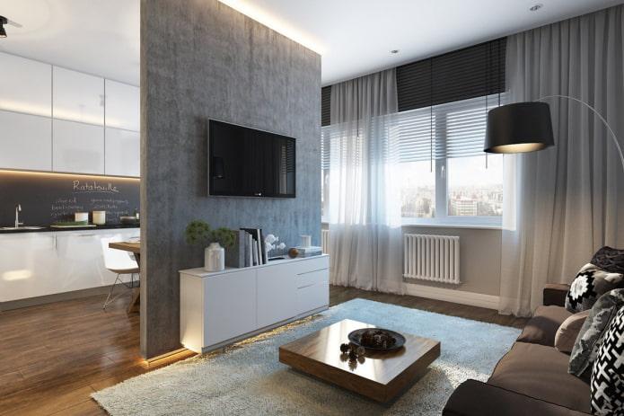 текстиль в интерьере квартиры-студии