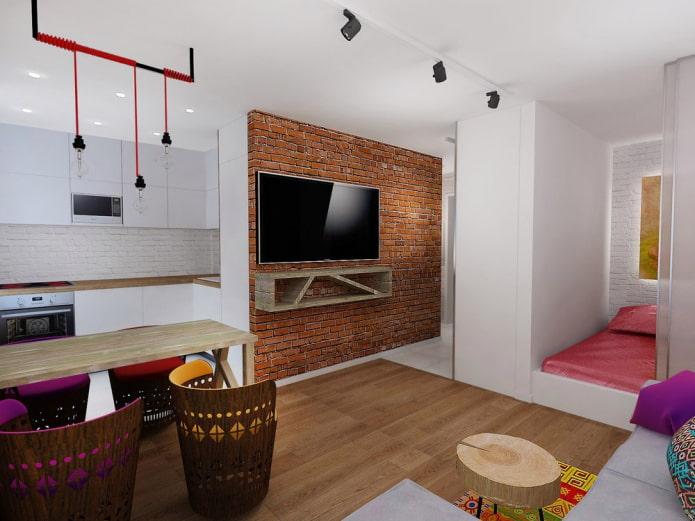 освещение в интерьере квартиры-студии