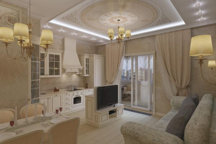 интерьер квартиры-студии в классическом стиле