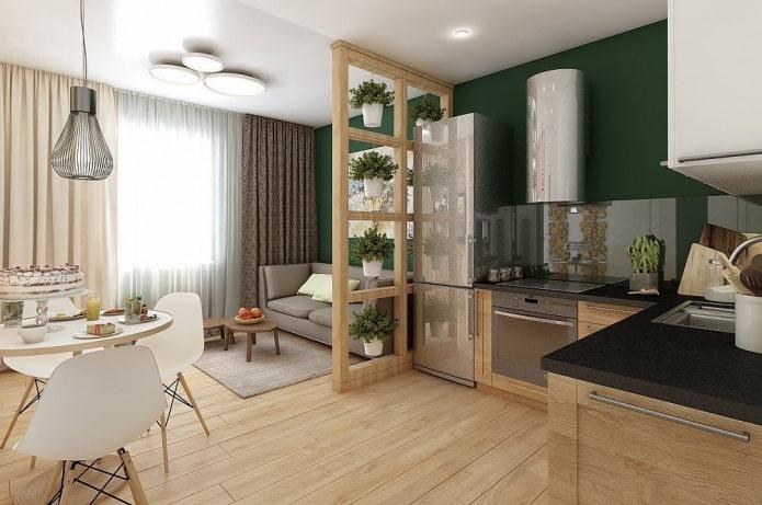 интерьер квартиры-студии с одним окном