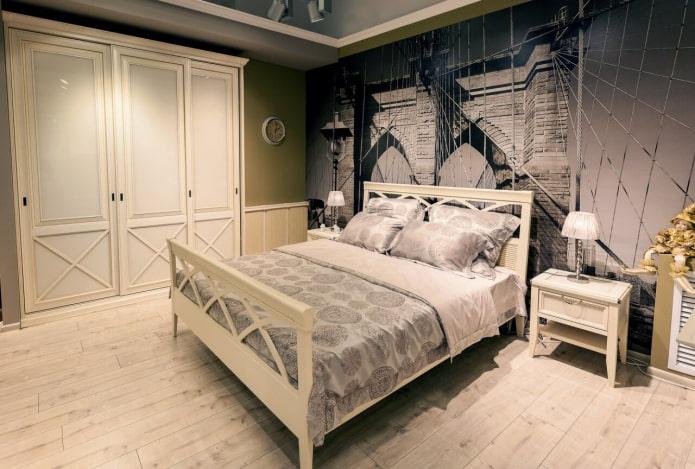 шкаф-купе в интерьере спальни в стиле прованс