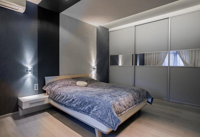 шкаф-купе в интерьере спальни в современном стиле