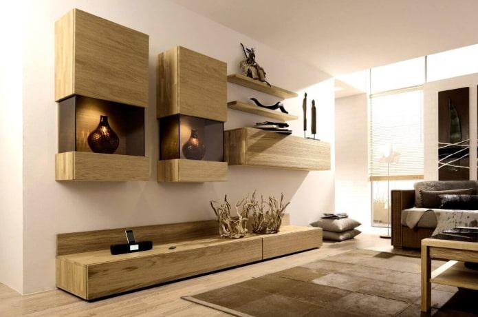 стенка для декоративных элементов в гостиной