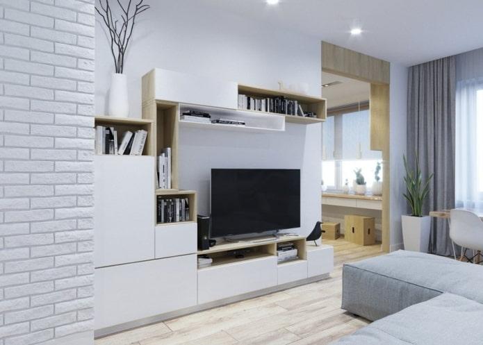 стенка в интерьере гостиной в скандинавском стиле