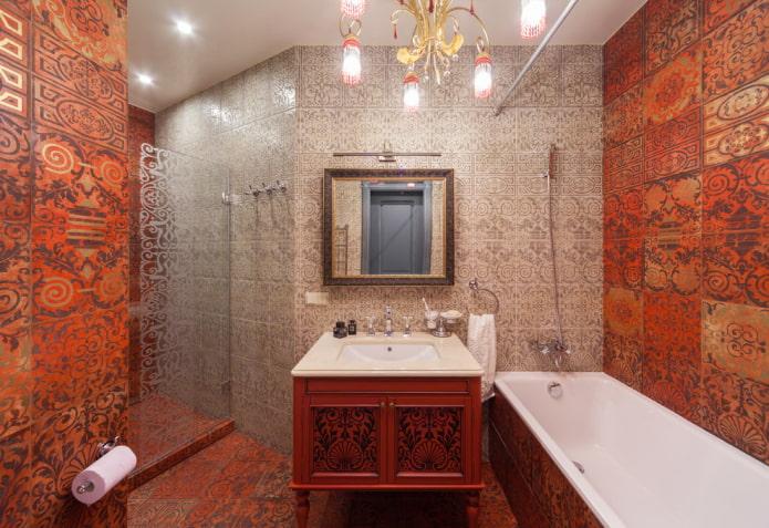 ванная комната в красно-серых оттенках