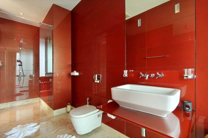 интерьер санузла в красных оттенках