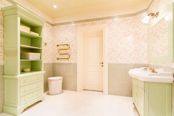 Стеллаж и тумба в прованской ванной