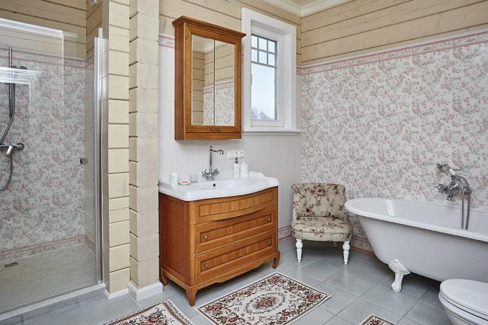 Санузел в стиле прованс в частном доме
