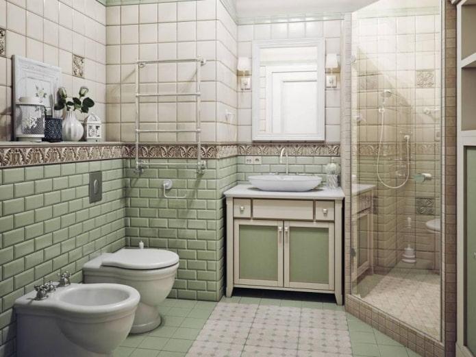 Угловая душевая кабинка в ванной