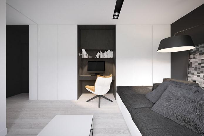 рабочая зона в интерьере квартиры 50 квадратов
