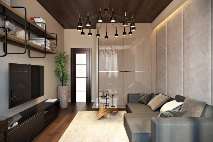 интерьер гостиной в квартире 50 квадратов