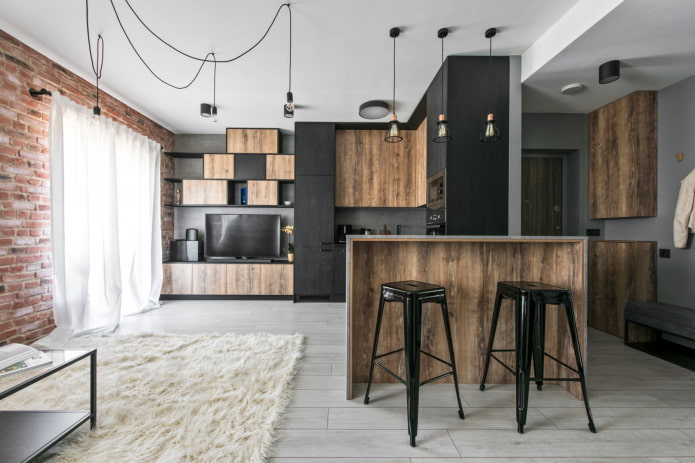 интерьер квартиры 50 квадратов в стиле лофт