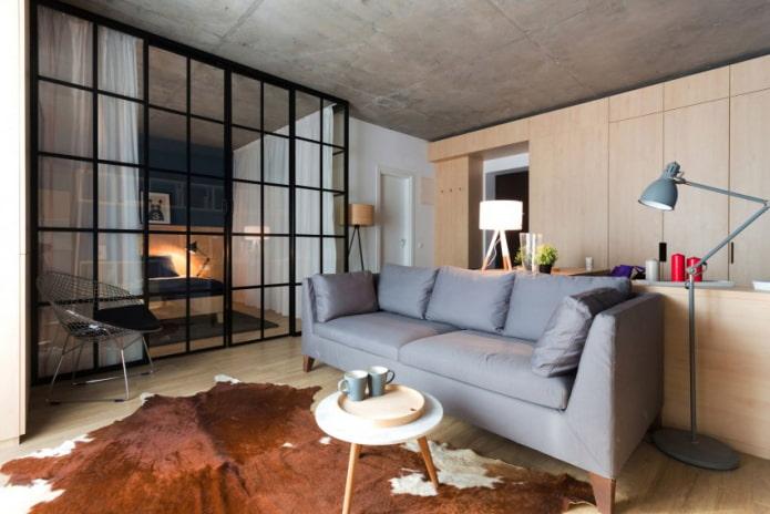 интерьер квартиры-студии 50 квадратов