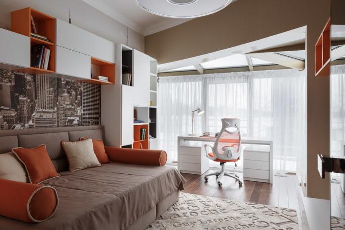 дизайн спальни с окном для мальчика подростка