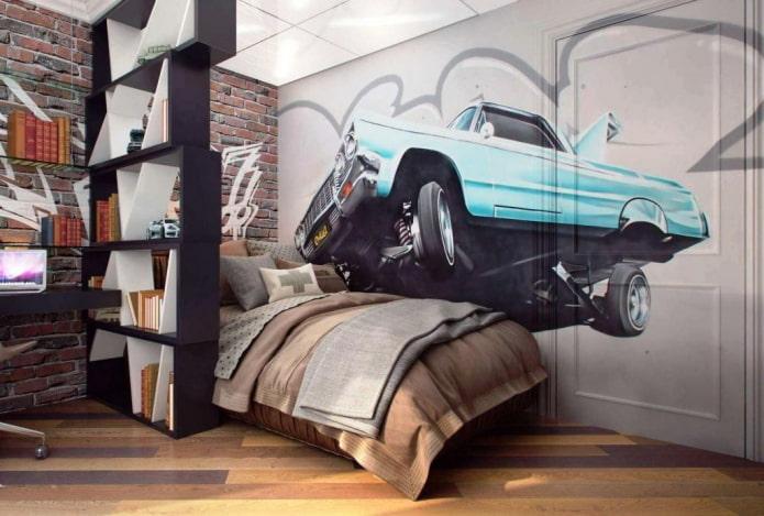 спальня для мальчика подростка в стиле лофт
