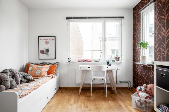 спальня для мальчика подростка в скандинавском стиле