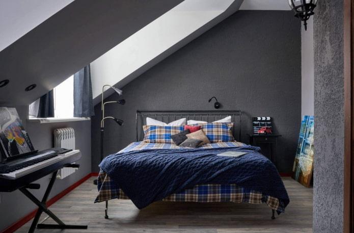 дизайн мансардной спальни для мальчика подростка