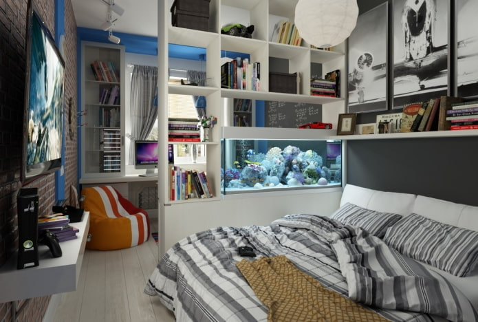 зонирование спальни для мальчика подростка